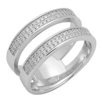 RCZ104004 Silver CZ Double Band Ring