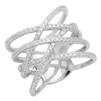 Silver Micro Pave Cris cross CZ Ring