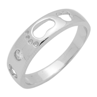 RCZ104038 - Sterling Silver CZ Footsteps Band Ladies 5mm