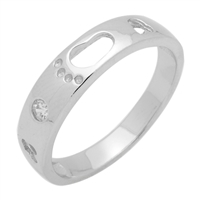 RCZ104039 - Sterling Silver CZ Footsteps Band Mens 6mm