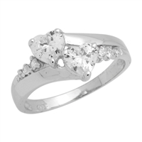 RCZ104040 - Sterling Silver CZ Double Heart Ring