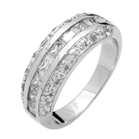 RCZ104042 - Sterling Silver Baguette CZ Band Ring 7mm