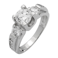 RCZ104043 - Sterling Silver Solitaire CZ Ring 6mm
