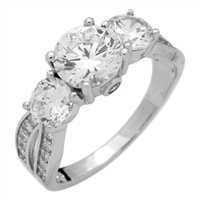 RCZ104044 - Sterling Silver Double Shank Solitaire CZ Ring 7mm