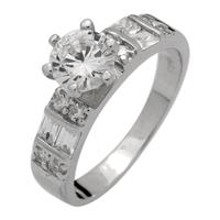 RCZ104046 - Sterling Silver Solitaire Baguette Accent Ring 6.5mm