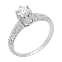 RCZ104047 - Sterling Silver Solitaire Crown Round CZ Ring