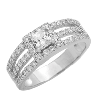RCZ104048 - Sterling Silver Square Princess Cut Solitaire Halo 3 Band Ring