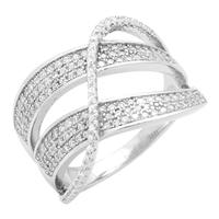RCZ104049 - Sterling Silver Wide X Swirl Criss Cross Ring