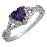 RCZ104050-AM - Sterling Silver Purple Heart Infinity Heart Solitaire Ring