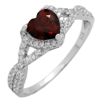 RCZ104050-GA - Sterling Silver Red Garnet Heart Infinity Heart Solitaire Ring