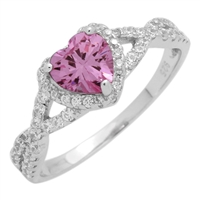 RCZ104050-PI - Sterling Silver Pink Heart Infinity Heart Solitaire Ring