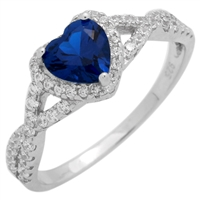 RCZ104050-SA - Sterling Silver Blue Sapphire CZ Heart Infinity Heart Solitaire Ring