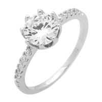 RCZ104052- Sterling Silver 7.5 Center Stone Solitaire CZ Ring