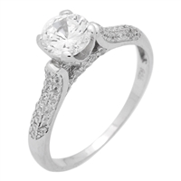 RCZ104053- Sterling Silver 6mm Center Stone Solitaire CZ Ring