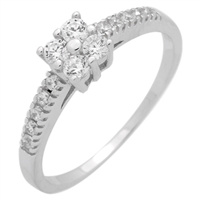 RCZ104054- Sterling Silver 4 Round CZ Center Stone Solitaire CZ Ring