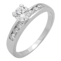RCZ104055- Sterling Silver 6mm CZ Center Stone Solitaire Ring