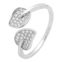 RCZ104056- Sterling Silver 2 Leaves Cuff Open Style CZ Ring