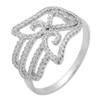 RCZ104058- Sterling Silver CZ Hamsa Hand of God Micropave Ring