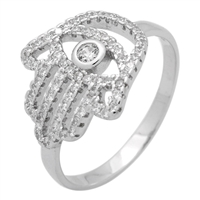 RCZ104059- Sterling Silver CZ Hamsa Hand of God Micropave Ring