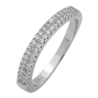 RCZ104060- Sterling Silver 2 Layers CZ Half Eternity Band Curved