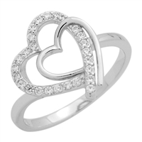 RCZ104061- Sterling Silver Double Hearts Micropave CZ Ladies Ring