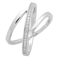RCZ104062- Sterling Silver Double CZ X Ring