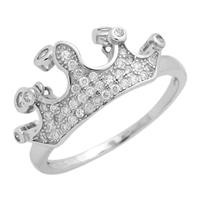 RCZ104063- Sterling Silver CZ crown Ring