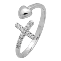RCZ104064- Sterling Silver CZ Cross Heart Open Cuff Ring