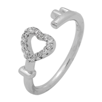 RCZ104065- Sterling Silver Wrap CZ Key to my Heart Ring