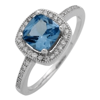 RCZ104066-AQ Sterling Silver Blue Aqua CZ Square Ring