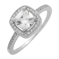 RCZ104066-CL Sterling Silver Clear CZ Square Ring