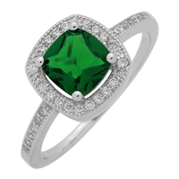 RCZ104066-EM Sterling Silver Green Emerald CZ Square Ring