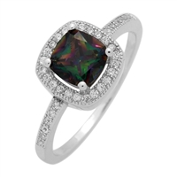 RCZ104066-MY Sterling Silver Rainbow  CZ Square Ring
