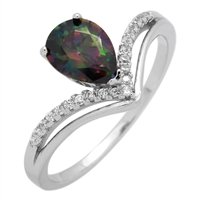 RCZ104067 Sterling Silver Pear Shape Rainbow CZ Ring