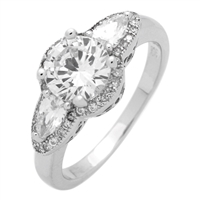 RCZ104067-CL Sterling Silver Clear CZ Round Ring