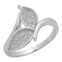 RCZ104068 Sterling Silver Clear CZ Whale Tail Ring