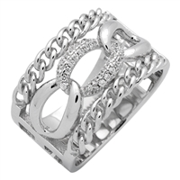RCZ104070 Sterling Silver Link Chain Style Wide Band Ring