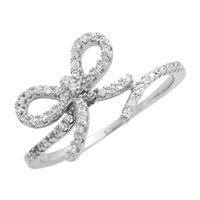 RCZ104072 Sterling Silver CZ Ribbon Bow Ring