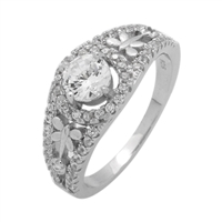 RCZ104074 Sterling Silver CZ Solitaire Dragonfly Ring
