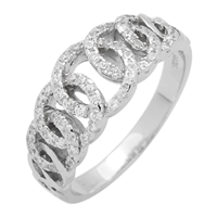 RCZ104075 Sterling Silver CZ Olympian Rings Band