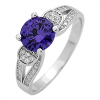 RCZ104076-AM Sterling Silver CZ Purple Amethyst CZ Ring