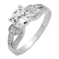 RCZ104076-CL Sterling Silver Clear CZ Ring