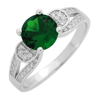 RCZ104076-EM Sterling Silver Green Emerald CZ Ring