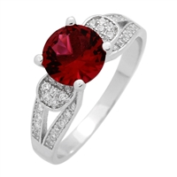 RCZ104076-RU Sterling Silver Red Ruby CZ Ring