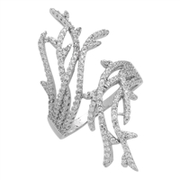 RCZ104077 Sterling Silver Long Coral Reef CZ Micropave Ring