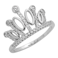 RCZ104079 Sterling Silver Princess Crown Micropave CZ Ring