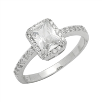 RCZ104081-CL Silver Clear CZ Emeraldcut Solitaire Ring