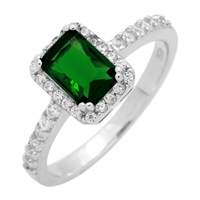 RCZ104081-EM Silver Clear CZ Emeraldcut Solitaire Ring