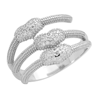 RCZ104083 Silver Micropave CZ Three Strands Hearts Ring