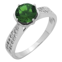 RCZ104088-EM Sterling Silver Green CZ Ladies Ring